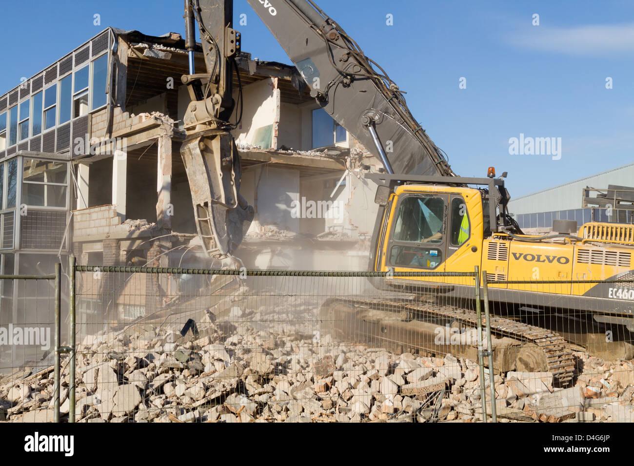 Building being demolished in Kidderminster UK - Stock Image