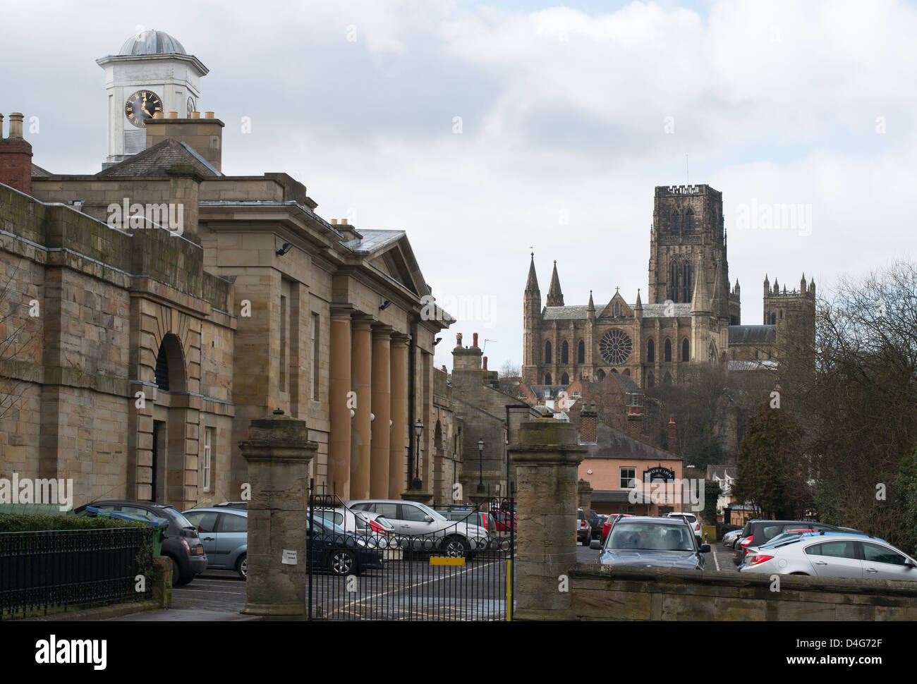Durham Crown Court with the cathedral in the background north east England UK - Stock Image