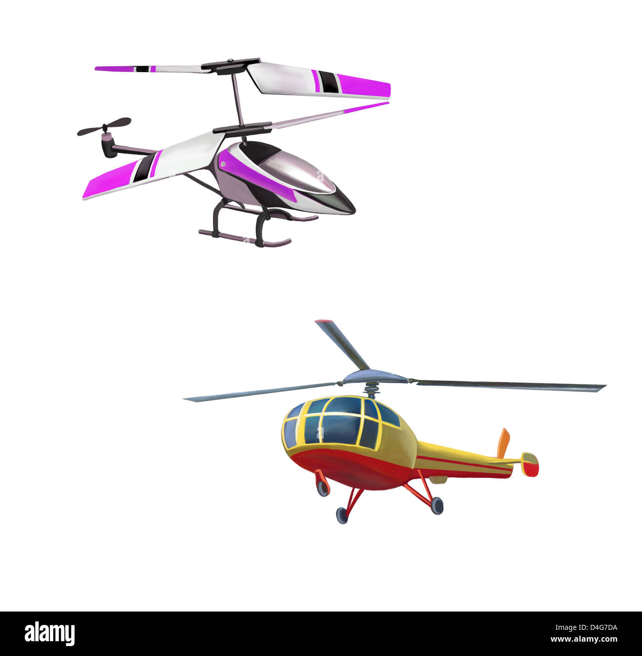 Helicopter toy model at flight - Stock Image