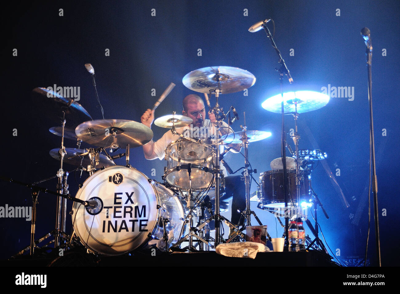 BARCELONA, SPAIN - MAR 5:: Baterist of My Chemical Romance band, performs at Sant Jordi Club on March 5, 2011 in - Stock Image