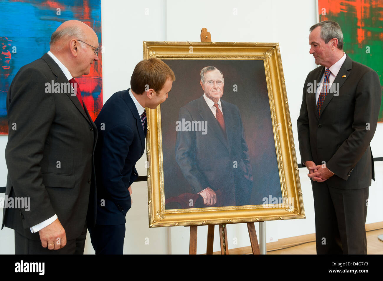 Berlin, Germany, Honorary Citizen-portrait of former U.S. President George Bush is unveiled - Stock Image