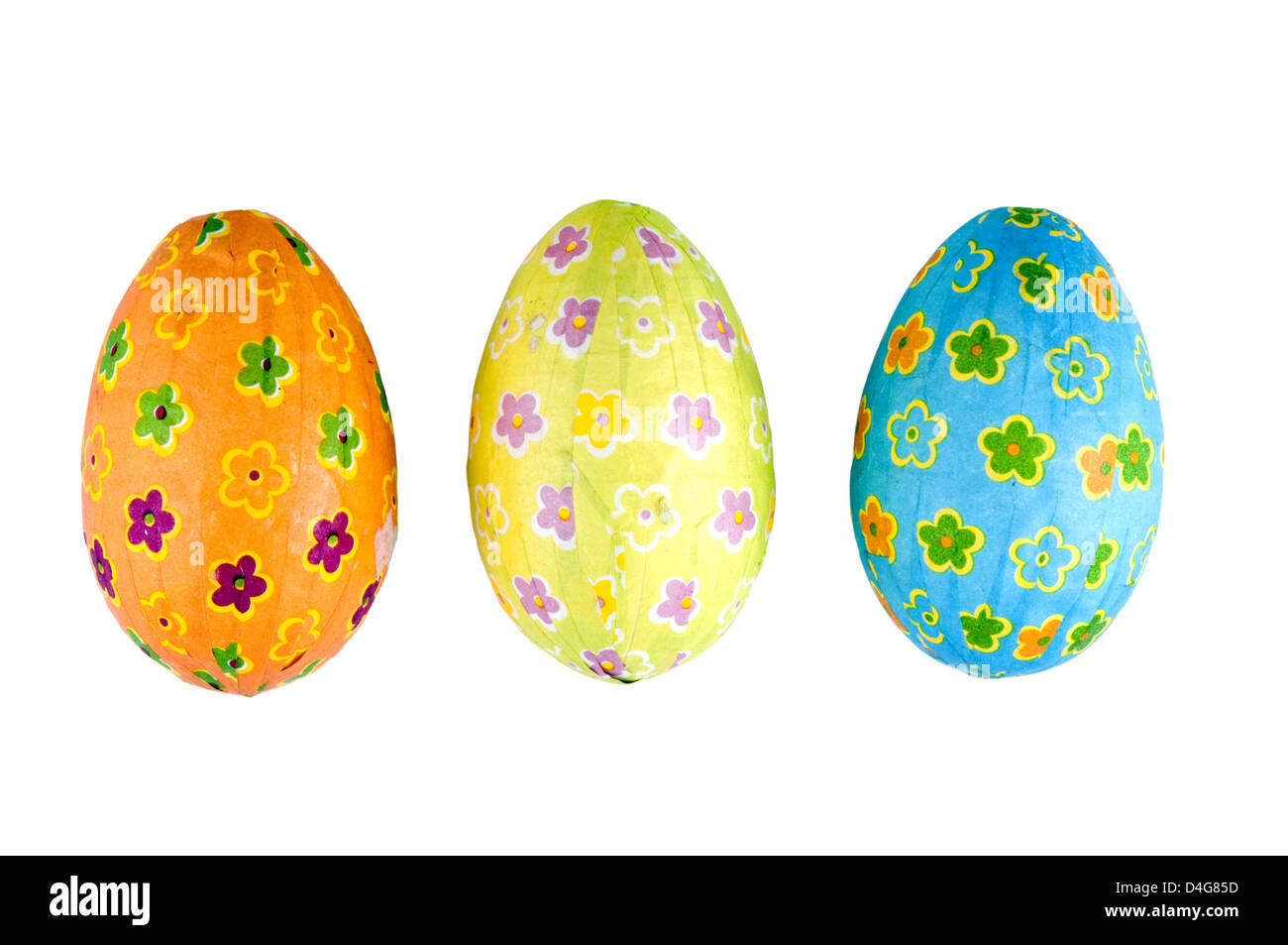 three Easter eggs isolated on white background - Stock Image