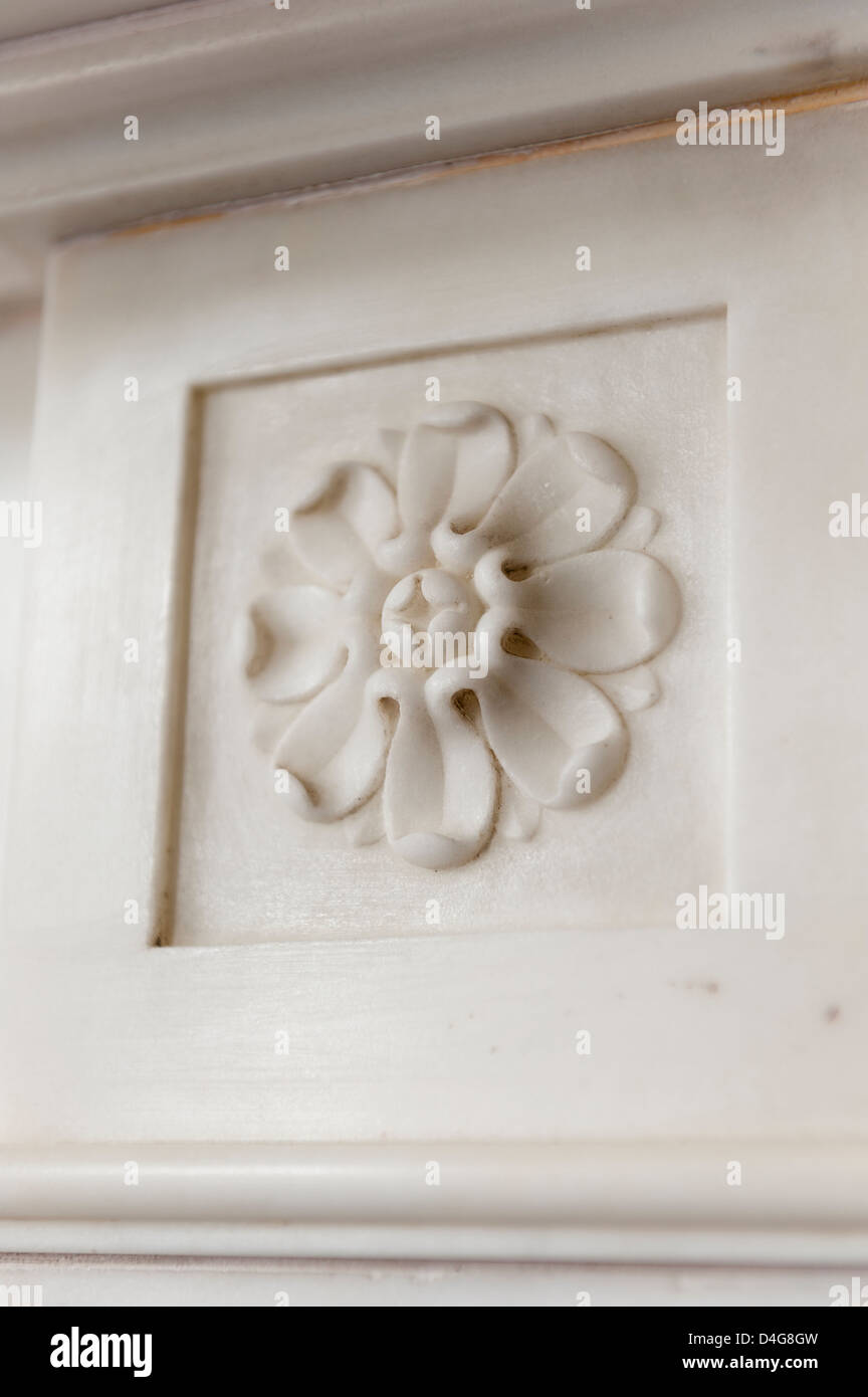 detail of stucco rose - Stock Image