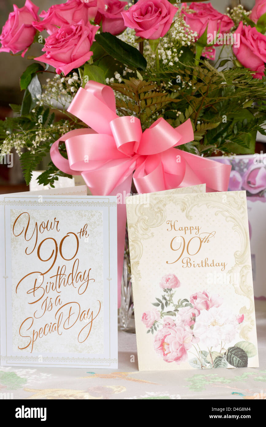 Bouquet of pink roses and cards for 90th. birthday of Stock Photo ...