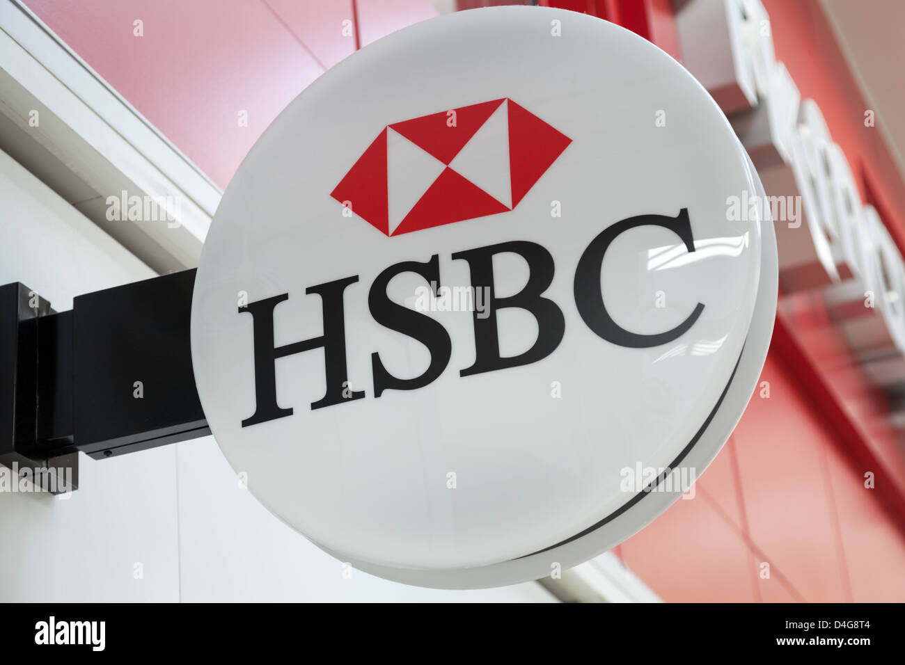 A general view of the logo outside a HSBC (Hong Kong Shanghai Banking Corporation) branch in Basingstoke, Hampshire. - Stock Image