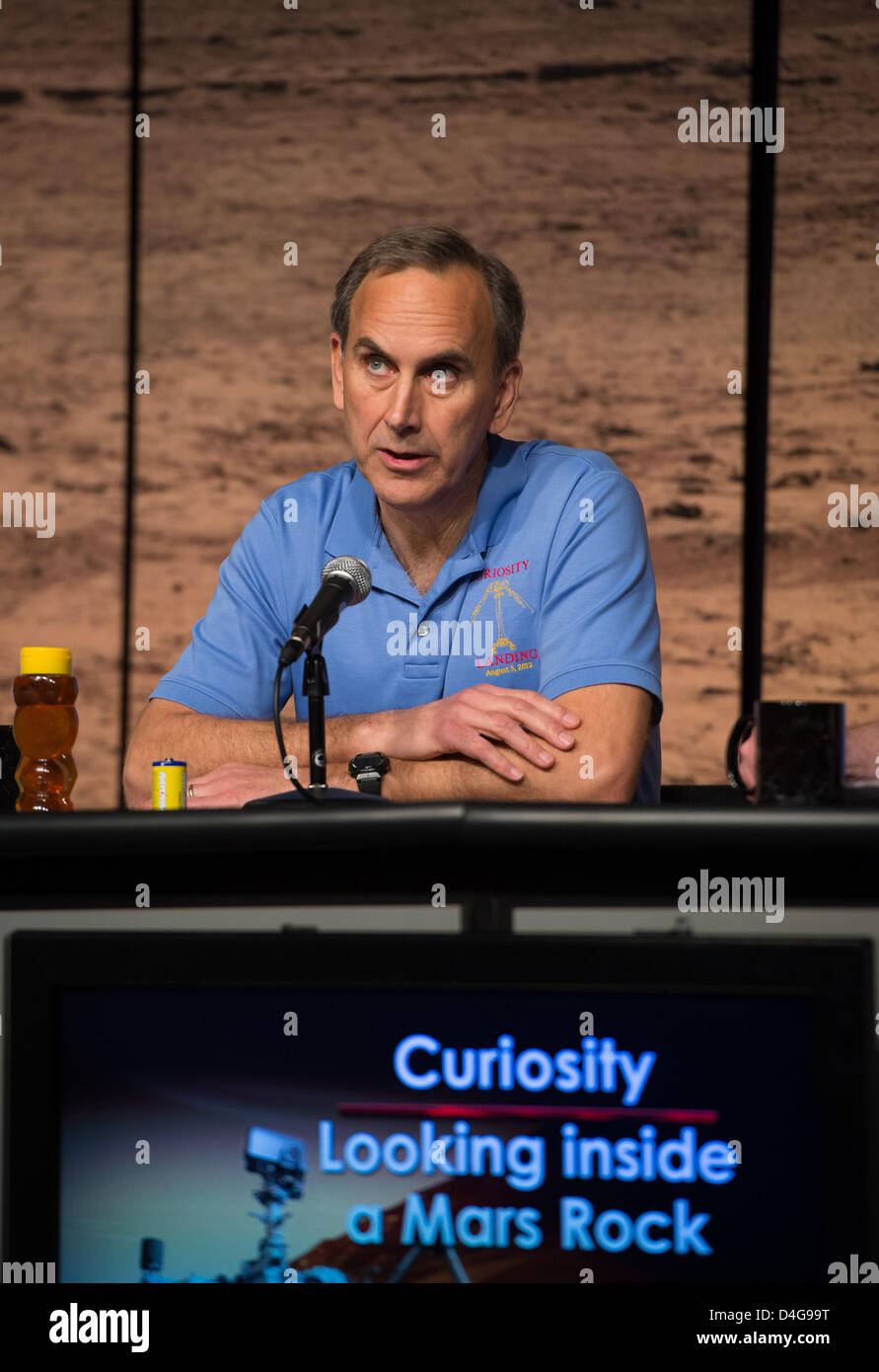 NASA Curiosity project scientist John Grotzinger of the California Institute of Technology answers a question at - Stock Image
