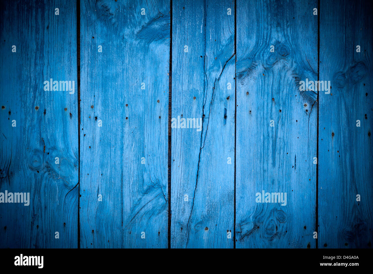 Texture of Wood blue panel for background vertical - Stock Image