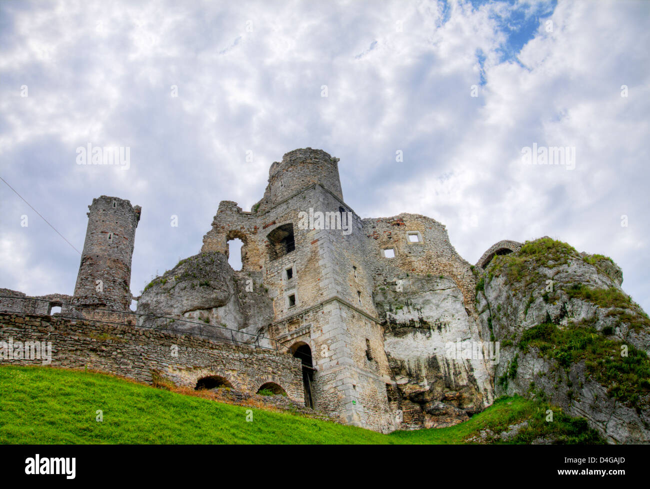 The old castle ruins of Ogrodzieniec fortifications, Poland. HDR image. Stock Photo
