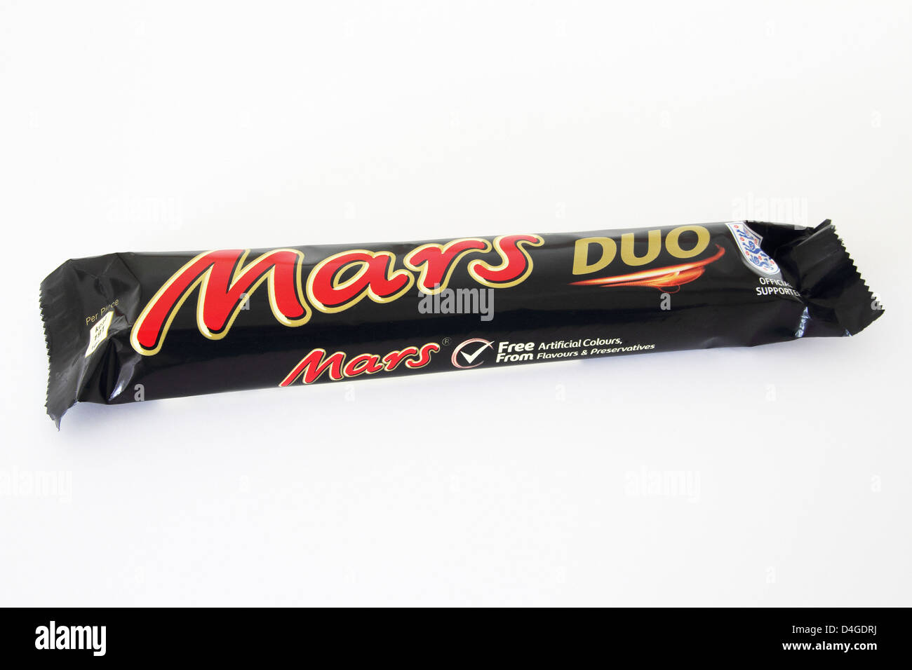 Mars Duo Chocolate Bar on a White Background - Stock Image