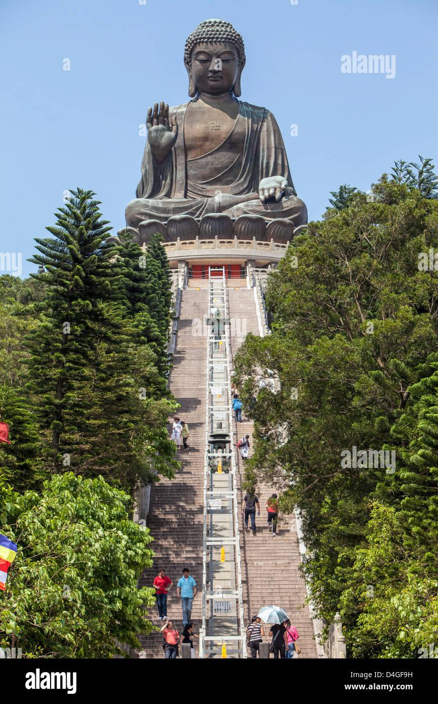 Tian Tan Buddha at Ngong Ping, Lantau Island, Hong Kong, China - Stock Image