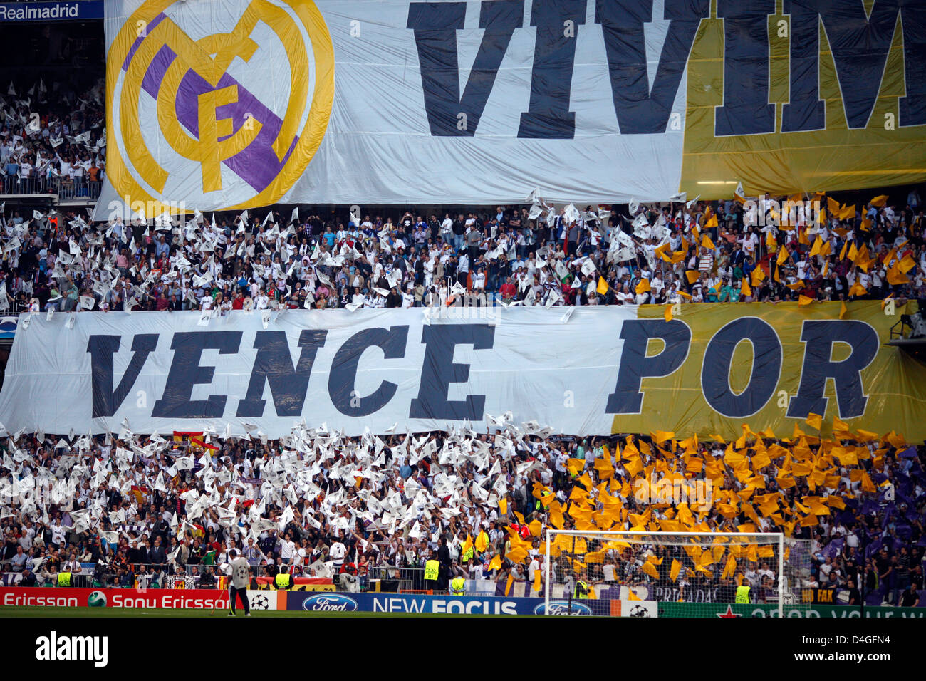 Madrid, Spain, fans of Real Madrid CF in the UEFA Champions League semi-final - Stock Image