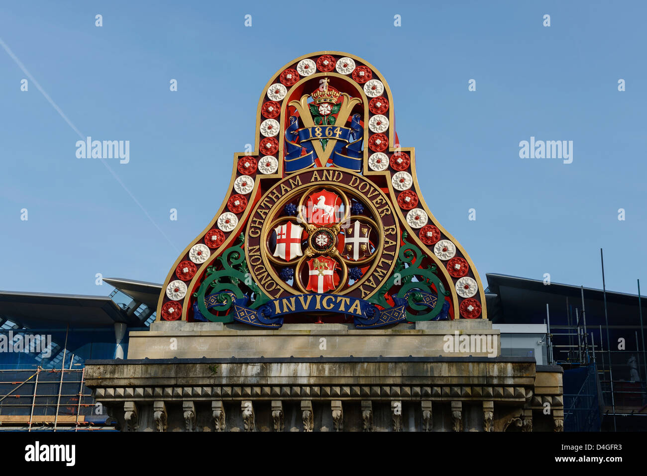 Architectural detail on Blackfriars railway bridge London UK - Stock Image