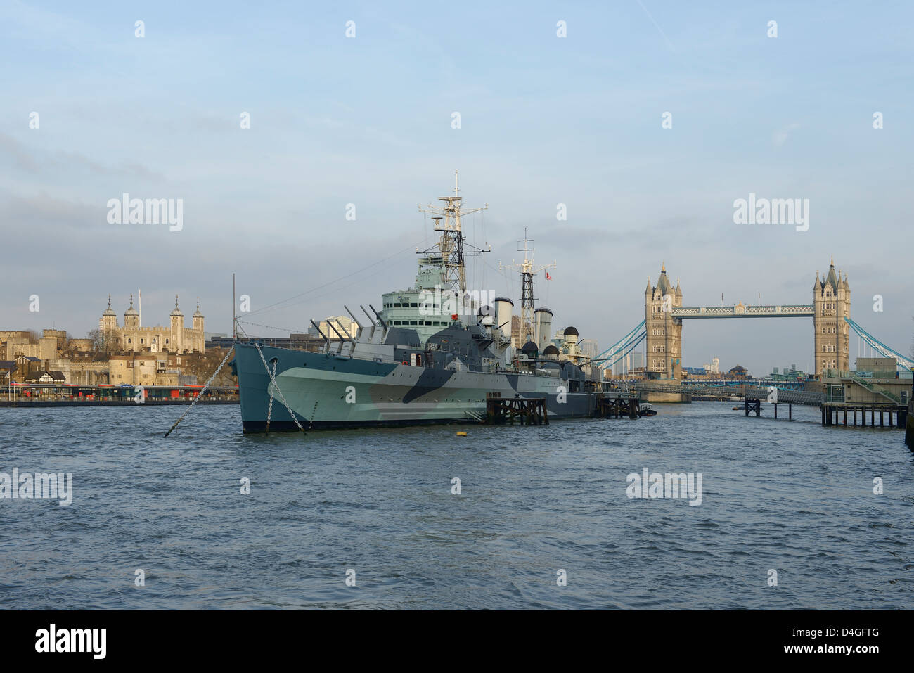 The Tower of London HMS Belfast and Tower Bridge London UK - Stock Image