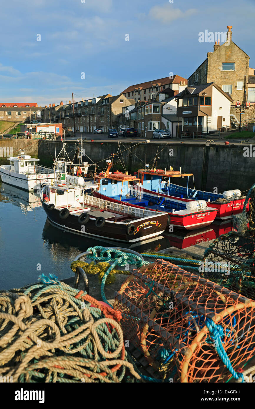 Boats in harbor, Seahouses, England, United Kingdom - Stock Image