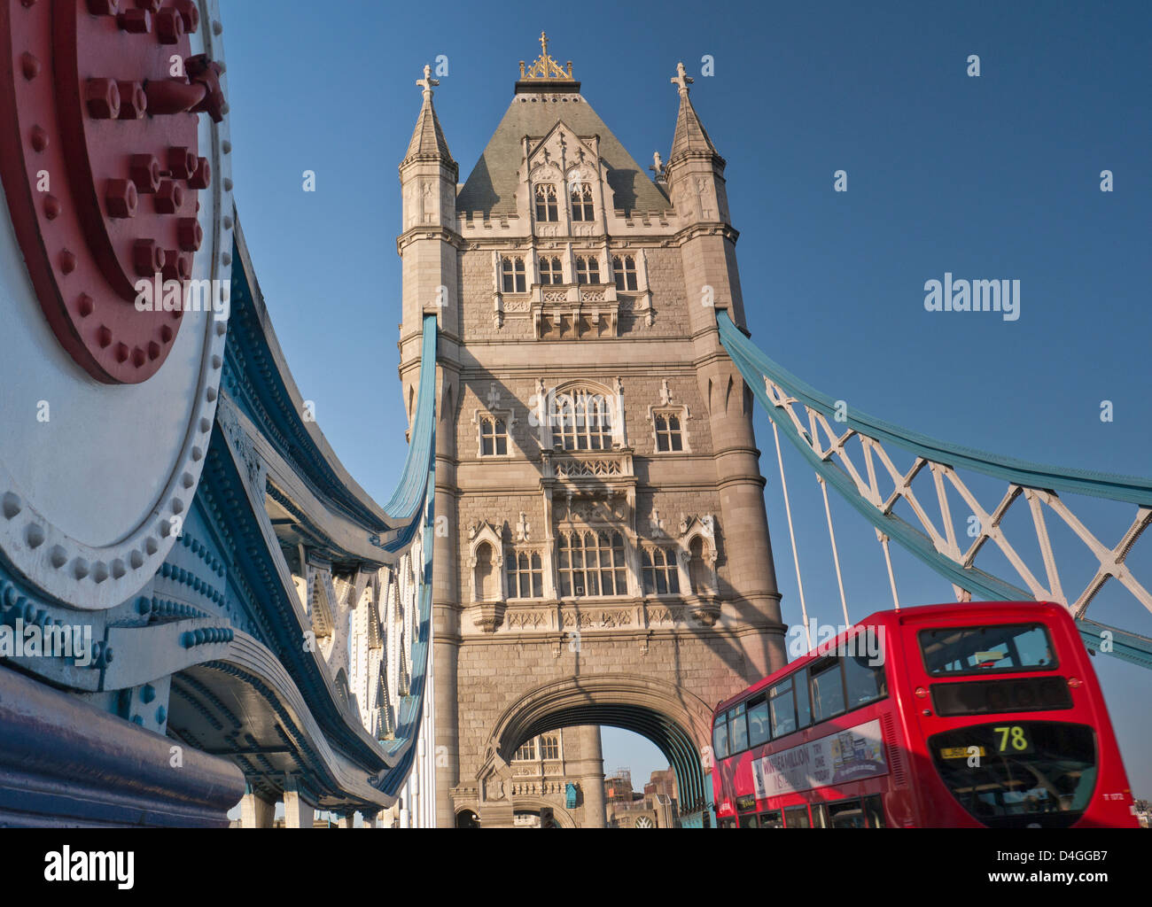 Tower Bridge and traditional red bus Southwark London UK - Stock Image