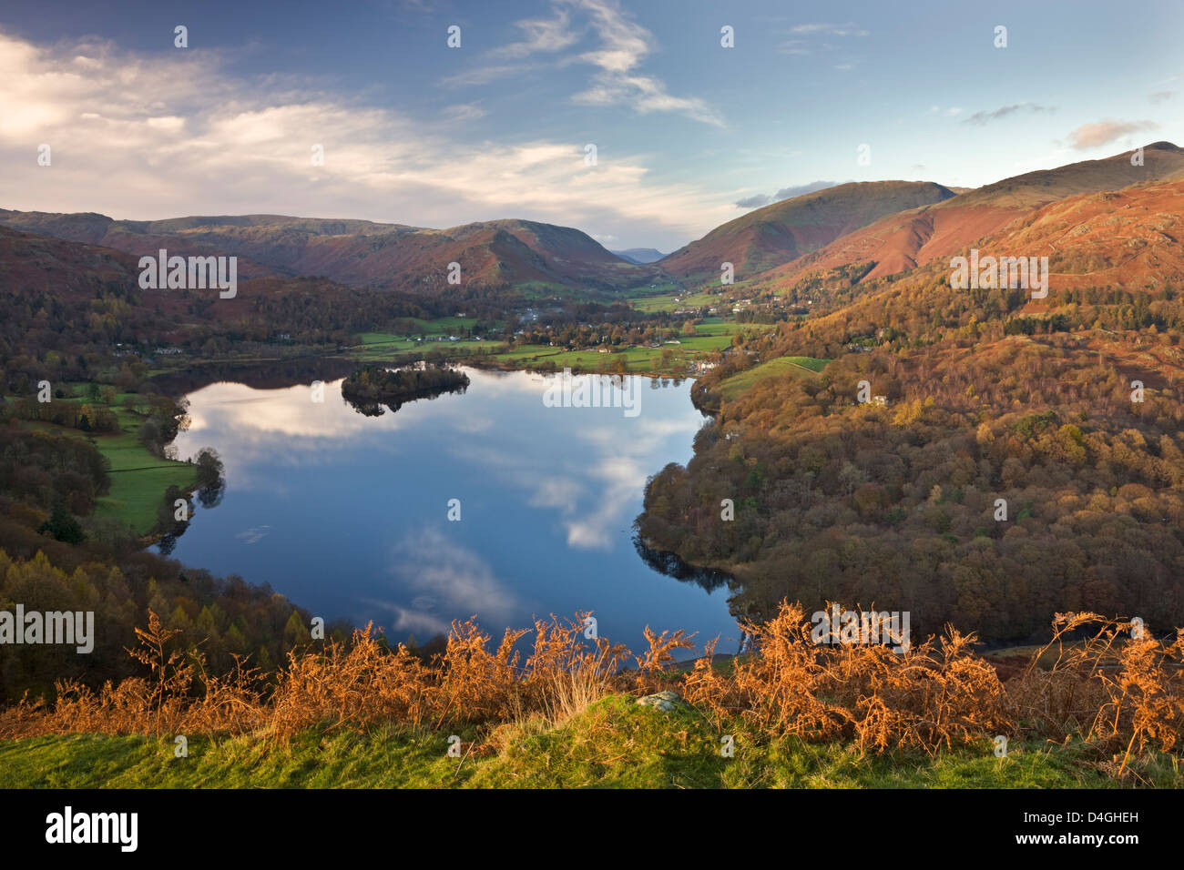 Vista down towards Lake Grasmere from Loughrigg Fell, Lake District, Cumbria. Autumn (November) 2009 - Stock Image