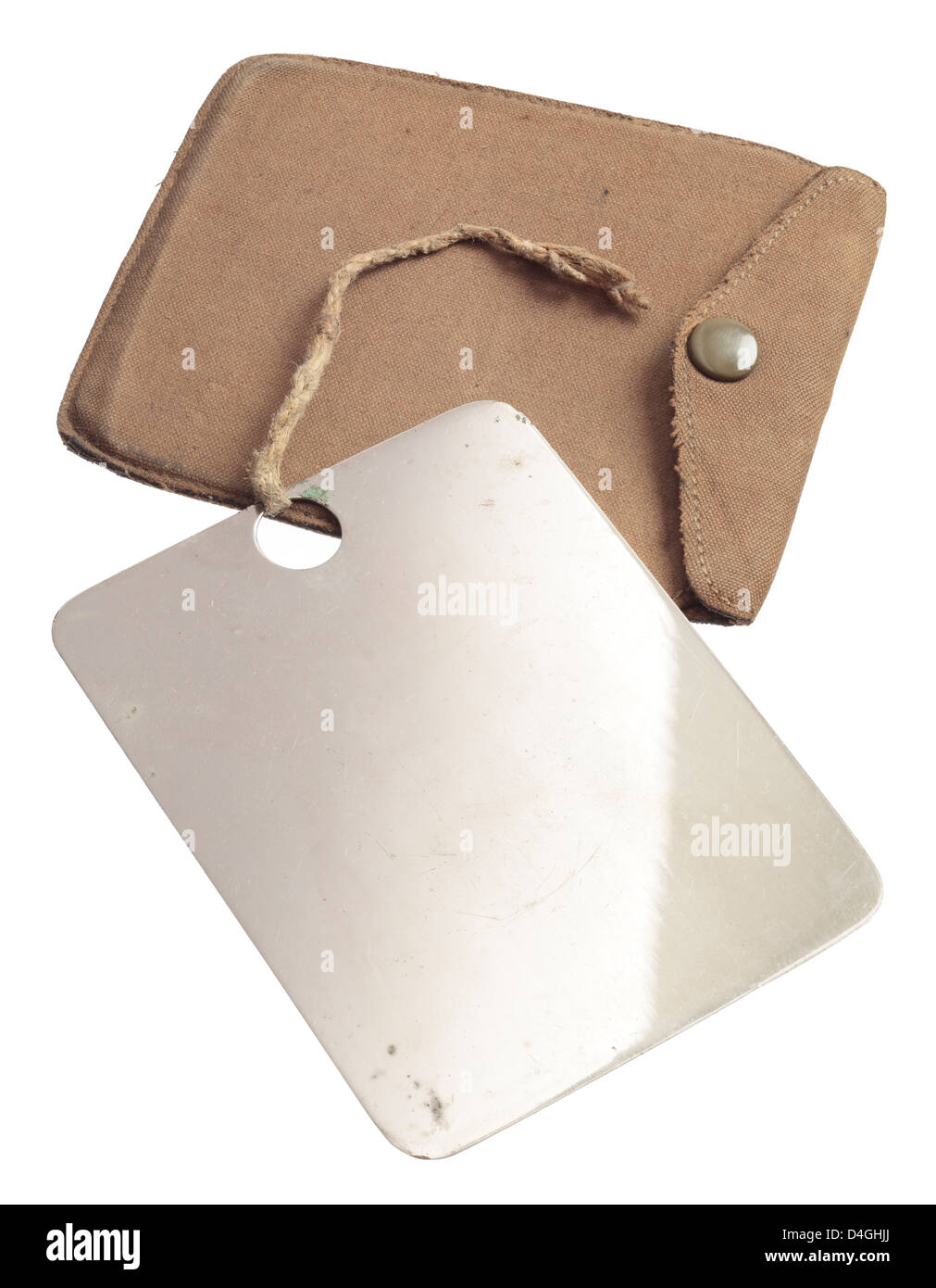 US Army polished steel Field Mirror from the Second World War. Stock Photo