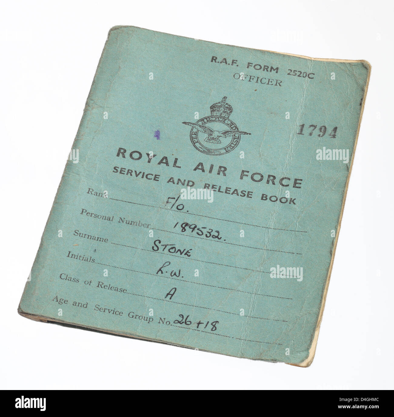 Royal Air Force or R.A.F. Service and Release book from the Second World War. - Stock Image
