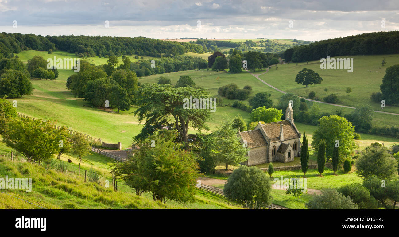 Church of St Mary the Virgin, surrounded by beautiful countryside, Lasborough in the Cotswolds, Gloucestershire Stock Photo