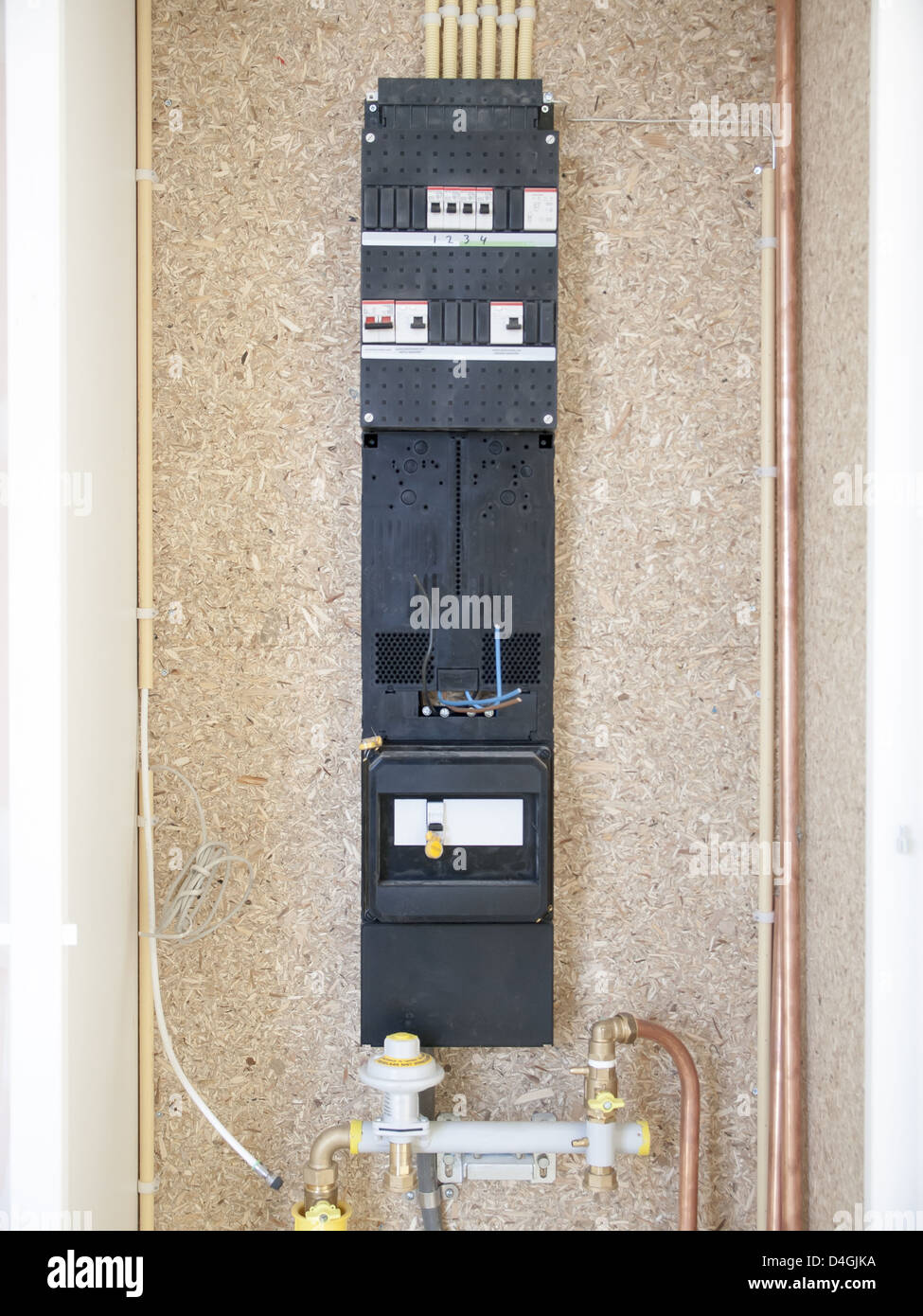 meter fuse box in a house under construction Stock Photo: 54455614 on mobile housing, mixed-use housing, single family housing, co-op housing, cape cod housing,
