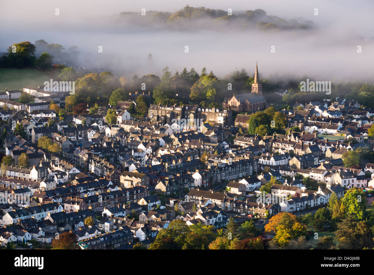 Aerial view of Keswick in the Lake District National Park, Cumbria, England. Autumn (October) 2012. - Stock Image