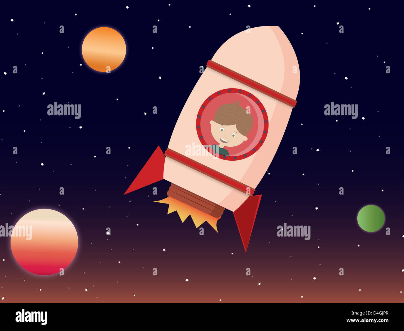 A little boy inside a rocket ship Stock Photo: 54455711 - Alamy