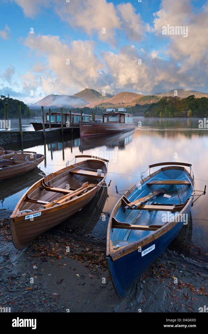Boats on Derwent Water near Friars Crag, Keswick, Lake District, Cumbria, England. Autumn (October) 2012. - Stock Image