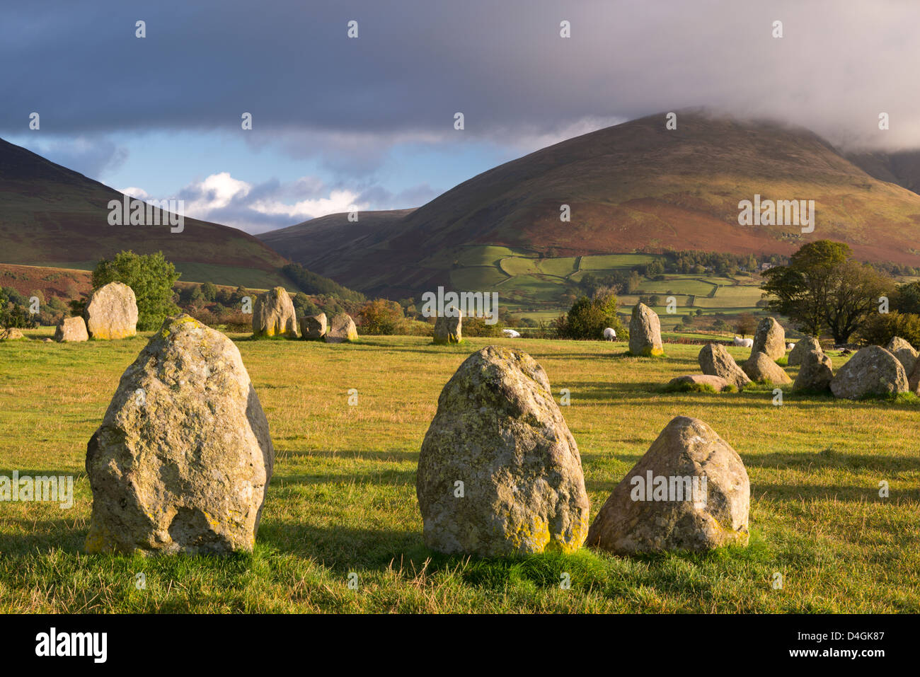 Castlerigg Stone Circle with Blencathra mountain behind, Lake District, Cumbria, England. Autumn (October) 2012. Stock Photo