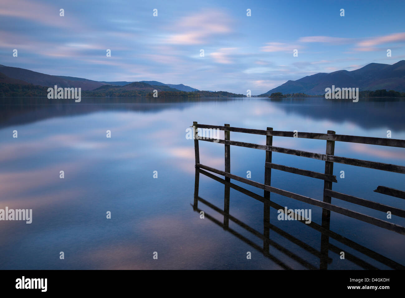 Tranquil Derwent Water at dusk, Lake District, Cumbria, England. Autumn (October) 2012. - Stock Image