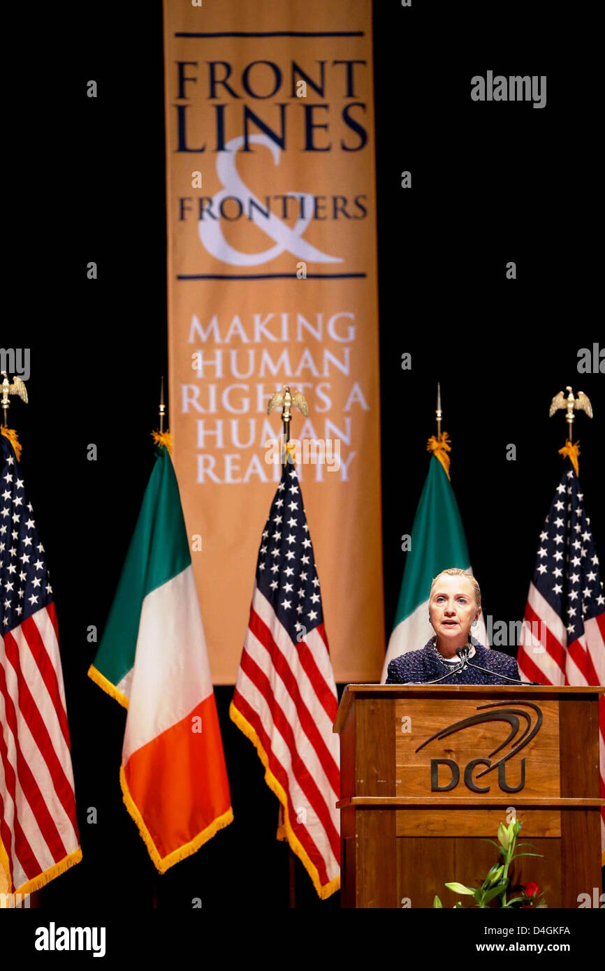 Secretary Clinton Delivers Remarks on Frontlines and Frontiers: Making Human Rights a Human Reality - Stock Image