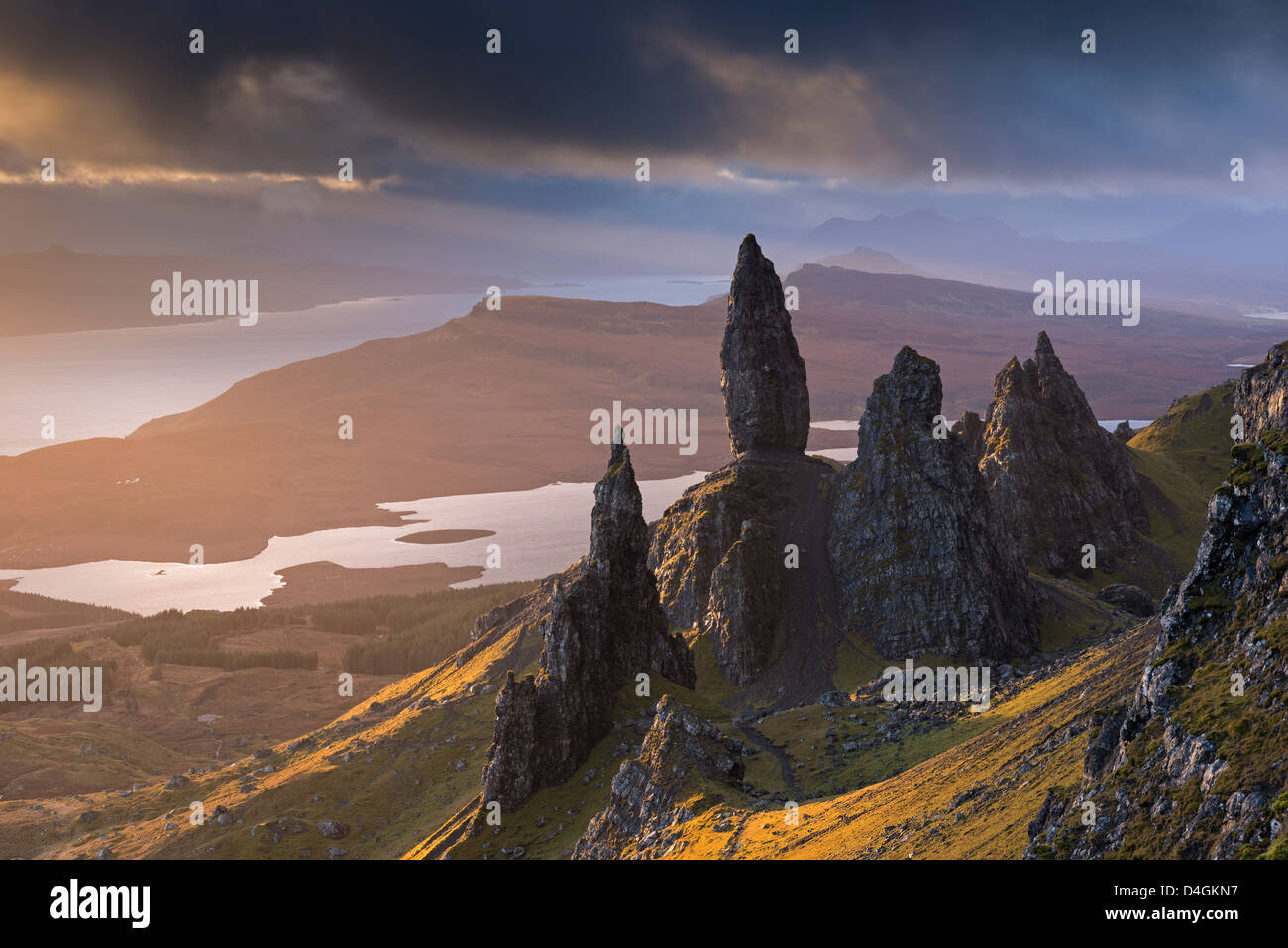 Old Man of Storr basalt pinnacles on the Isle of Skye, Scotland. Winter (November) 2012. Stock Photo