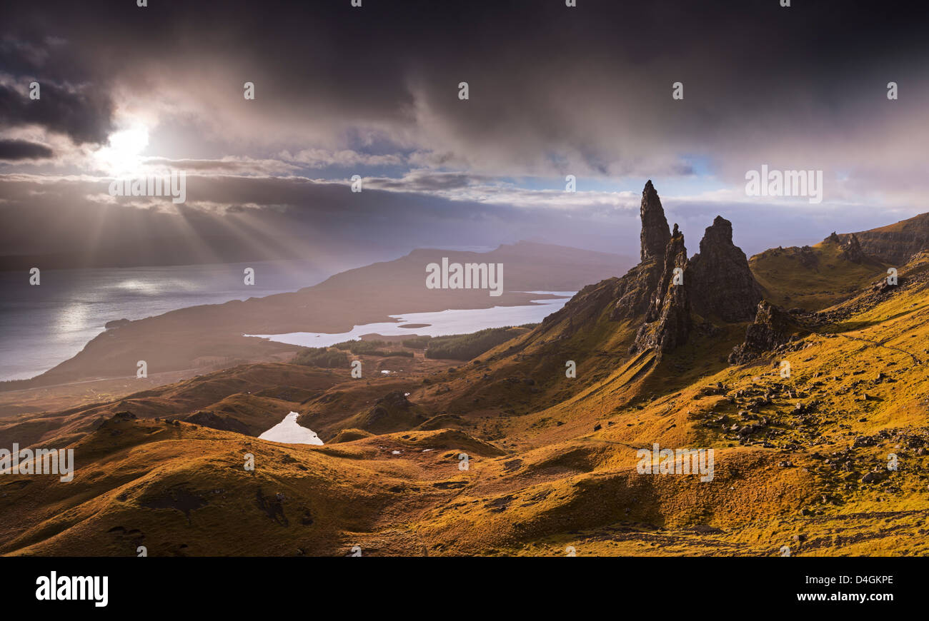 Dramatic light on the Old Man of Storr, Isle of Skye, Scotland. Autumn (November) 2012. - Stock Image