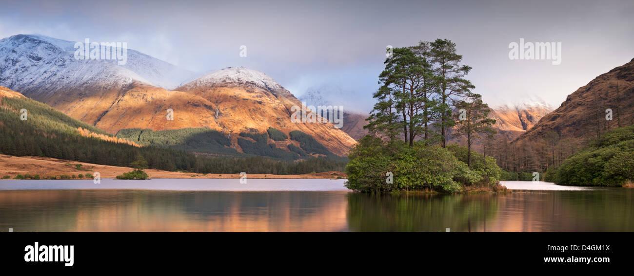 Island in Lochan Urr in Glen Etive, Scotland. Winter (November) 2012. - Stock Image