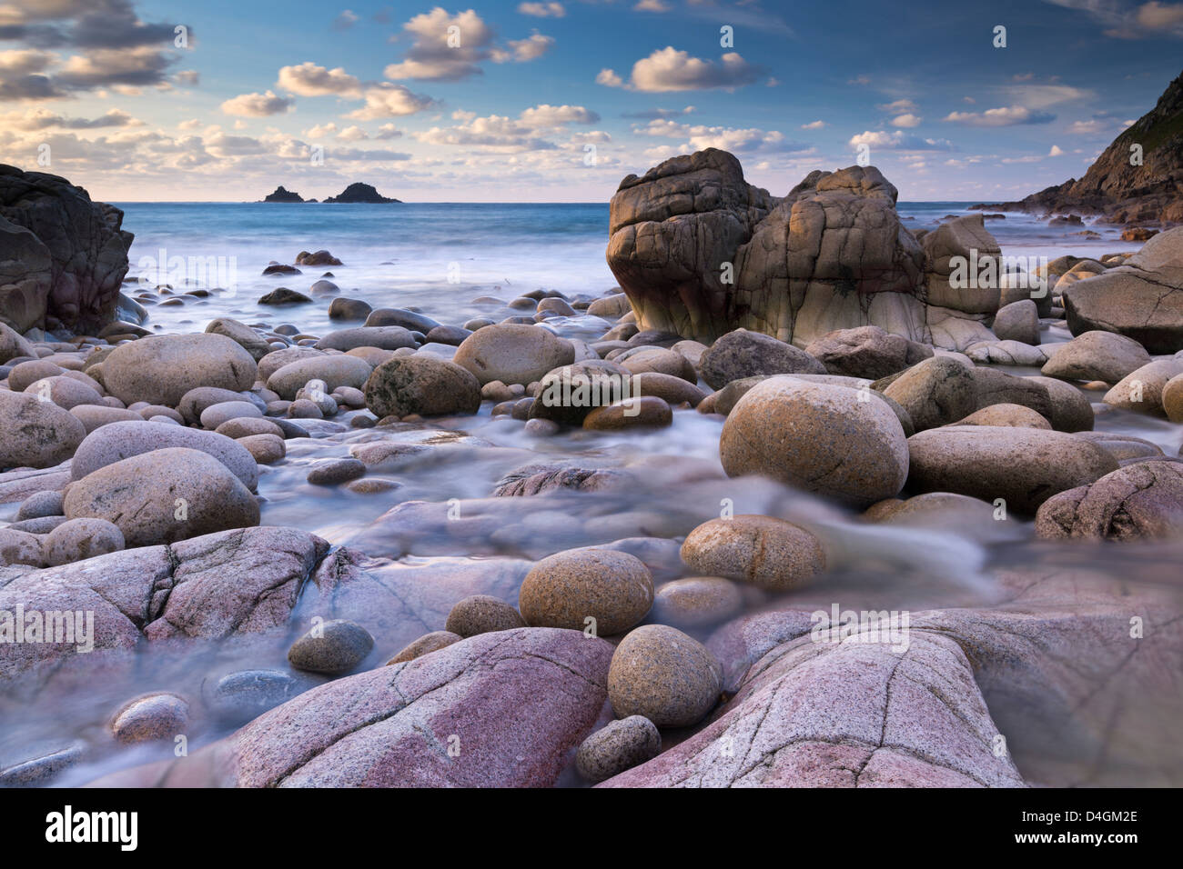 Rocky cove at Porth Nanven near Land's End, Cornwall, England. Winter (December) 2012. - Stock Image