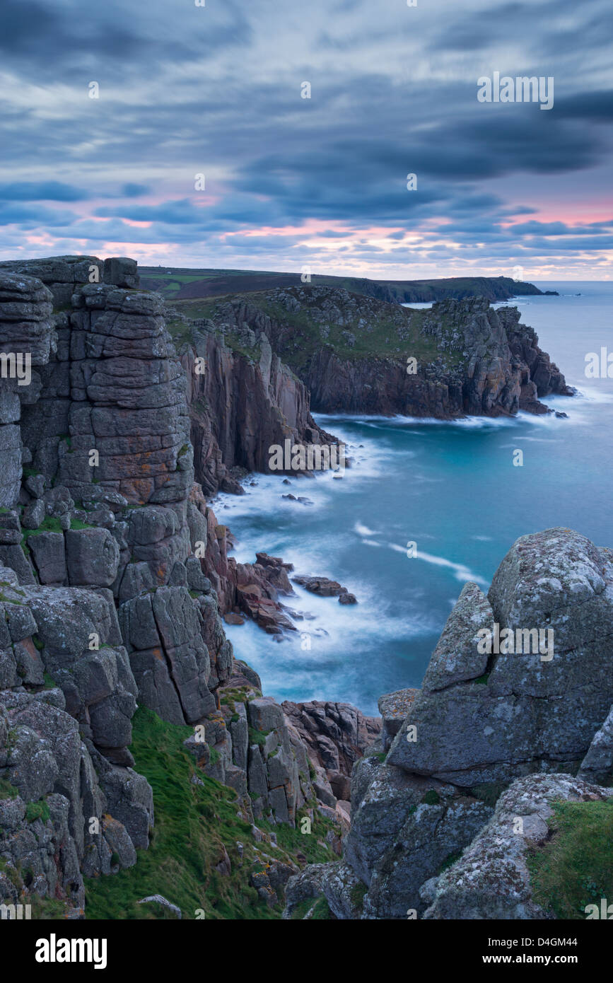 Magnificent granite cliffs from Pordenack Point, Land's End, Cornwall, England. Winter (December) 2012. - Stock Image