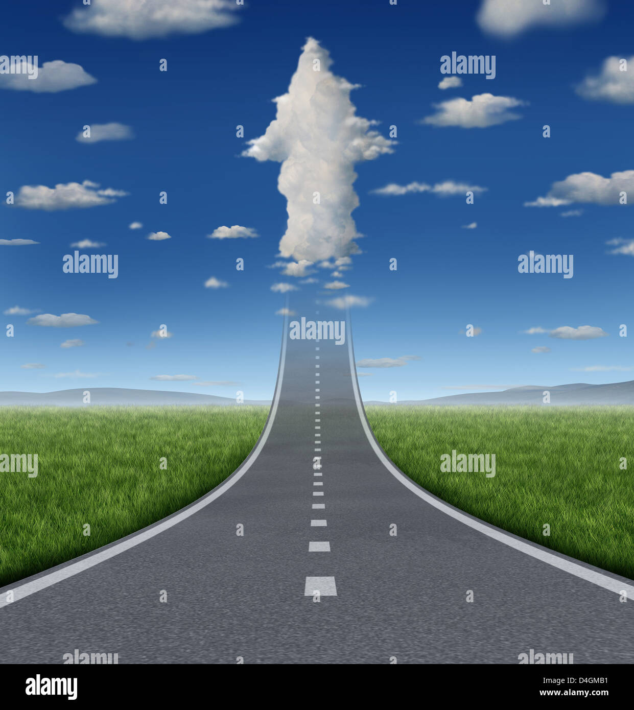 No limits success concept with a road or highway going forward fading into the sky with a group of clouds shaped - Stock Image