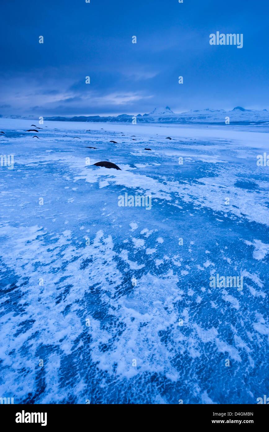 Frozen landscape in Iceland. Winter (January) 2013. - Stock Image