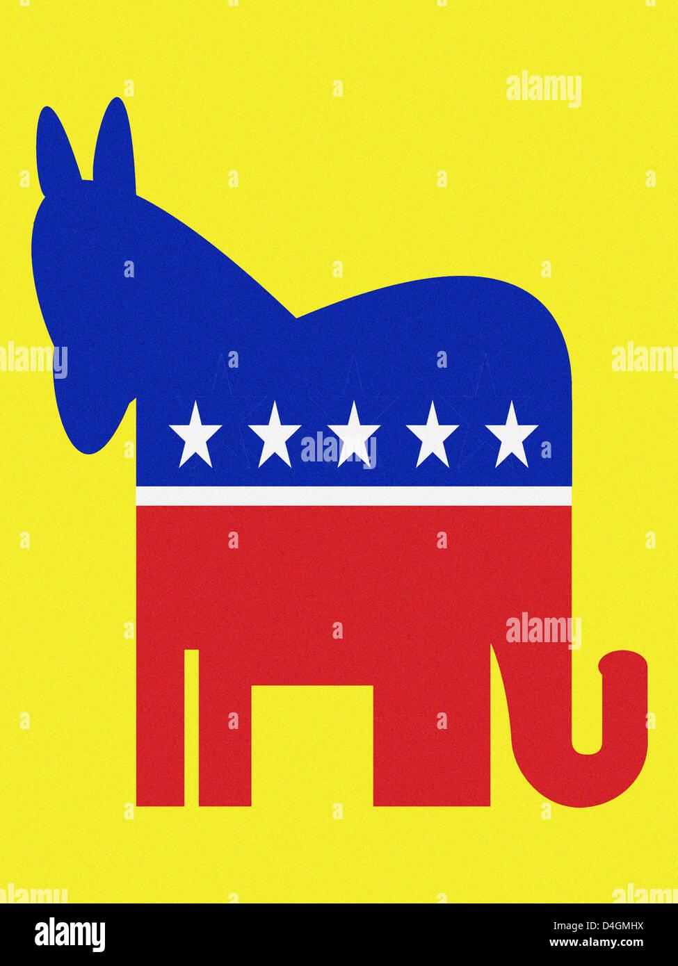 Democratic donkey and Republican elephant - Stock Image