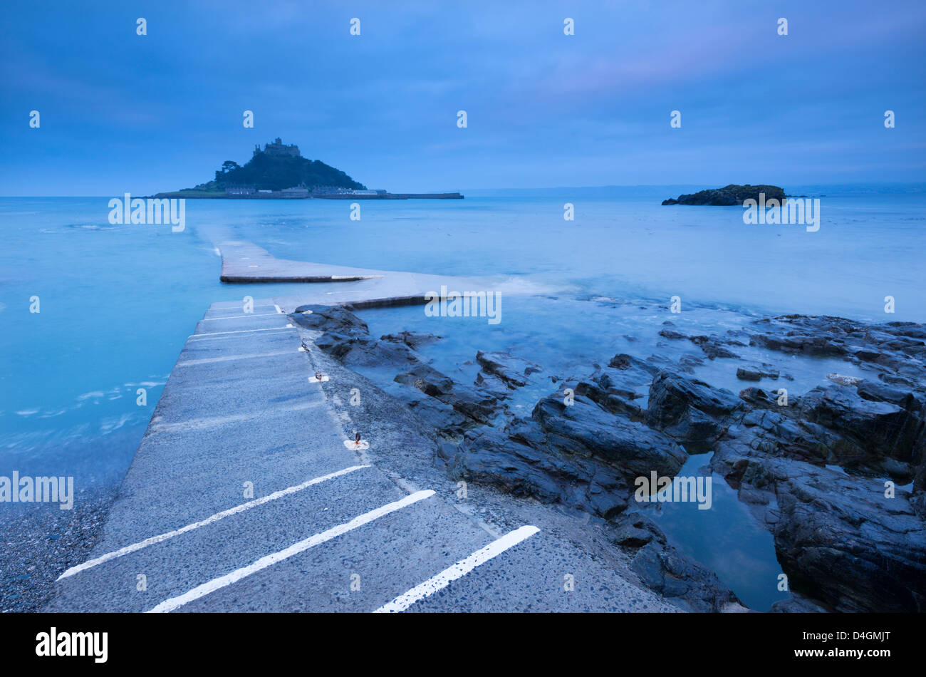 Slipway at St Michael's Mount at dawn, Marazion, Cornwall, England. Winter (March) 2013. - Stock Image