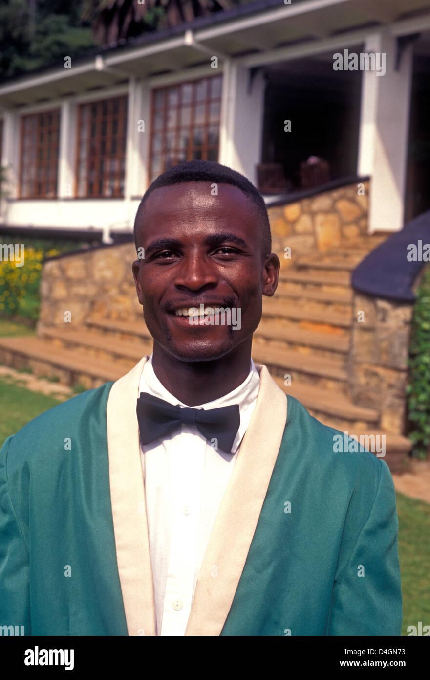 1, one, Zimbabwean, man, adult man, waiter, worker, working, Rhodes-Nyanga Hotel, Nyanga, Manicaland Province, Zimbabwe, - Stock Image