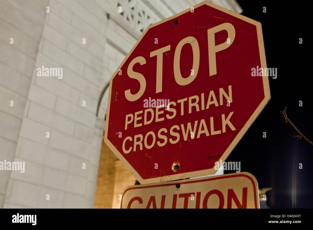 Pedestrian crosswalk stop sign - Stock Image