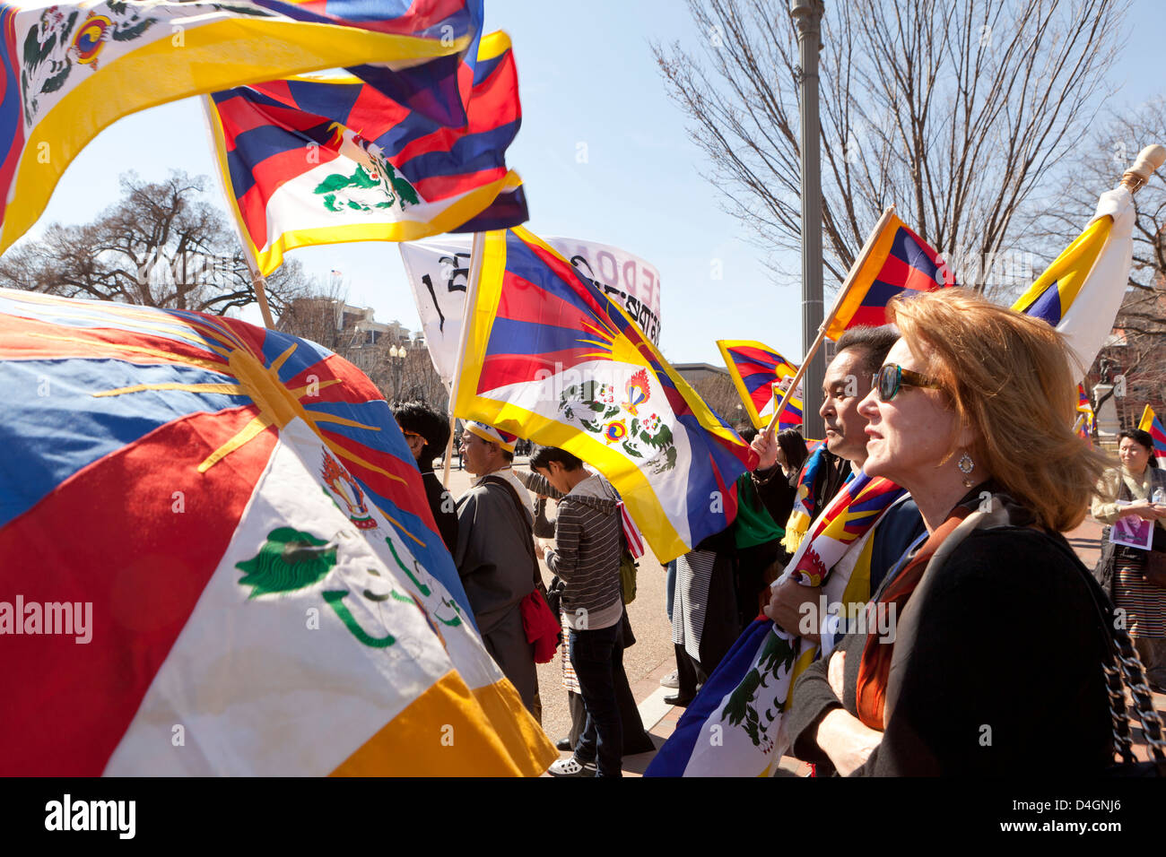 Tibetan protesters in Washington DC - Stock Image