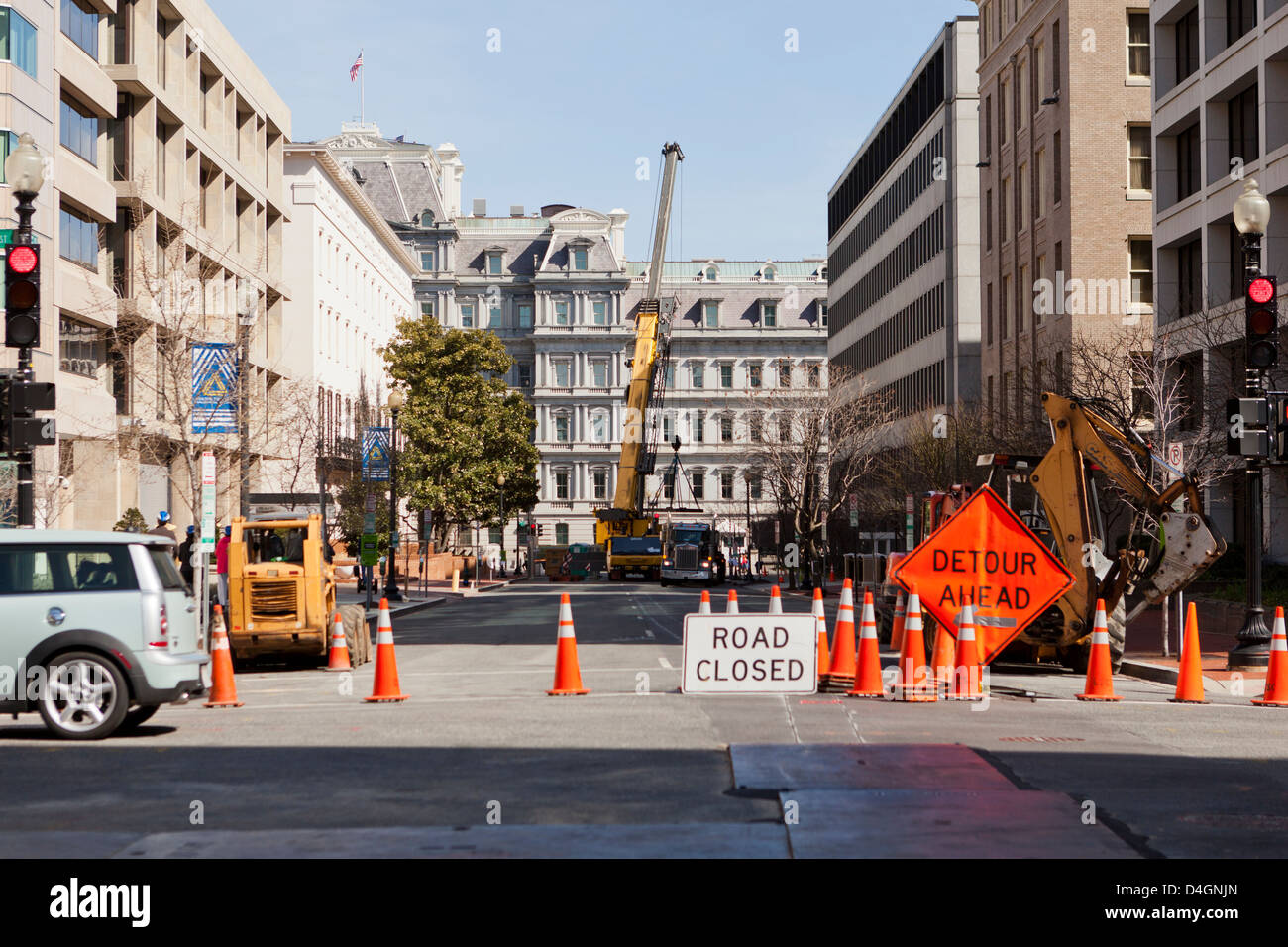 Urban road closure for construction work Stock Photo