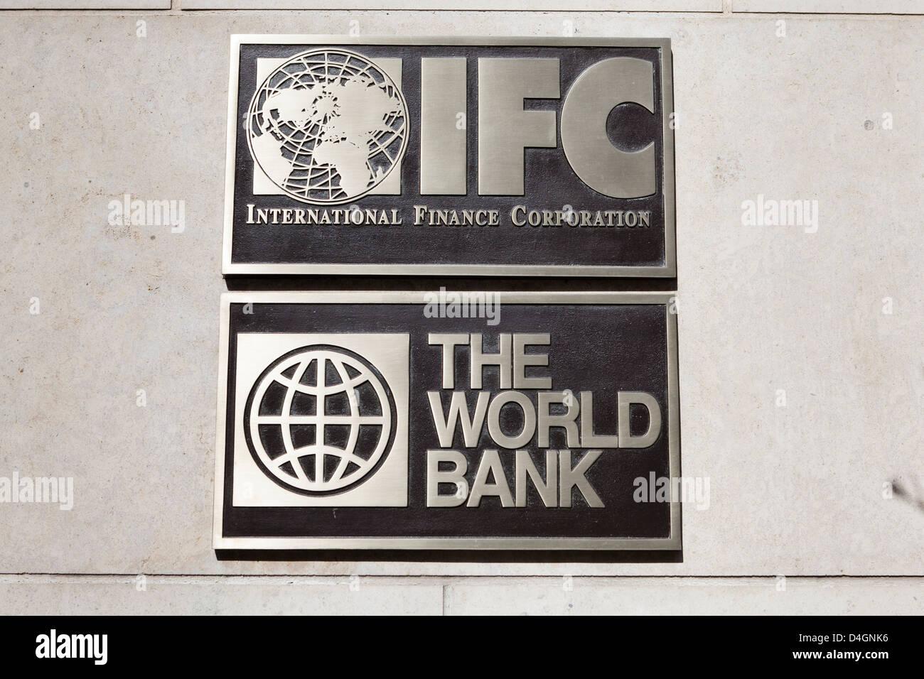 The World Bank, IFC building plaque - Washington, DC USA - Stock Image