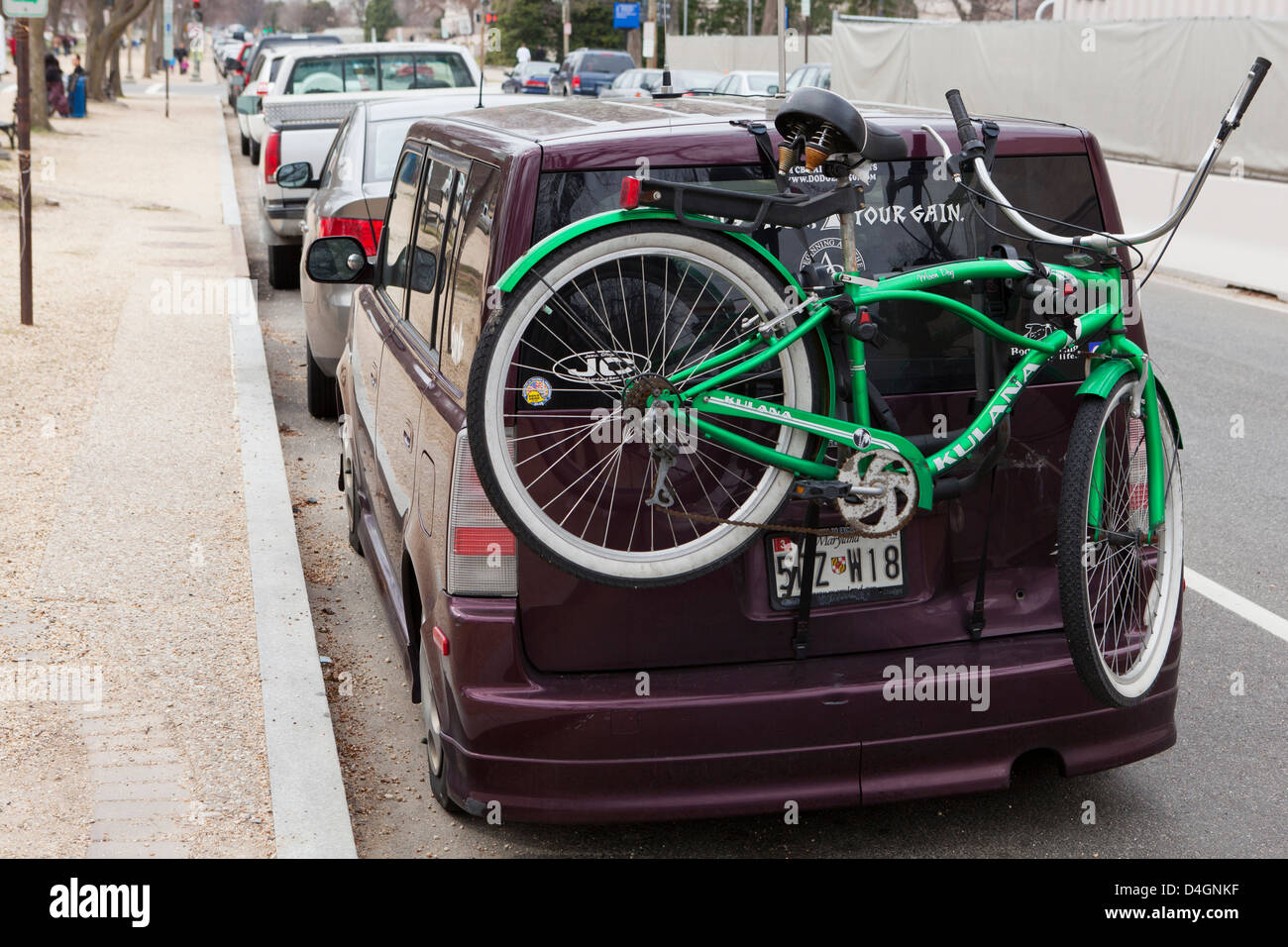 Bicycles on rear mounted bike rack - USA - Stock Image
