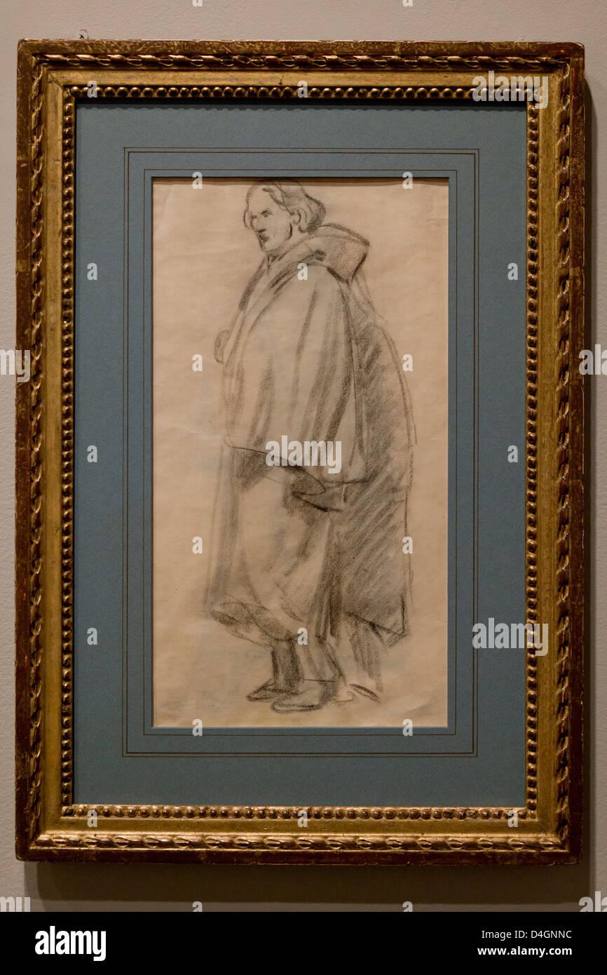 Man Wearing a Cloak by Edouard Manet, 1852 - Stock Image