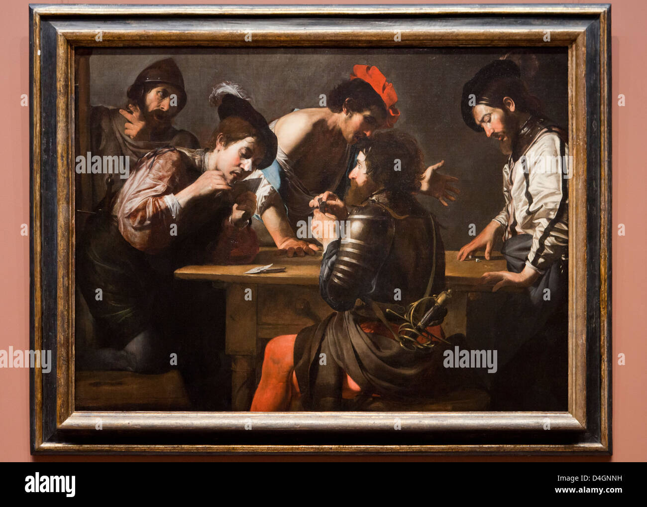 Solders Playing Cards and Dice (The Cheats) by Valentin de Boulogne, 1620 - Smithsonian National Gallery of Art, - Stock Image