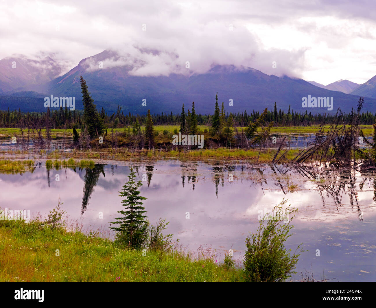 The effect of a changing climate as the permafrost is melting and exposing the melting top soil and the formation - Stock Image