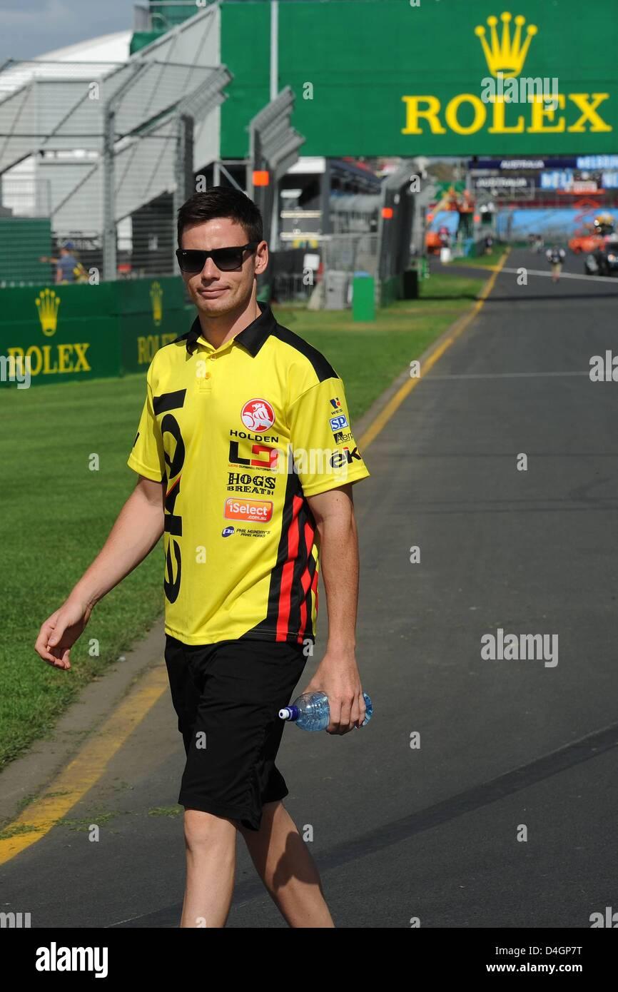 Melbourne, Australia. 13th March 2013.  Australian Moto GP World Champion Casey Stoner Walking around The Track - Stock Image