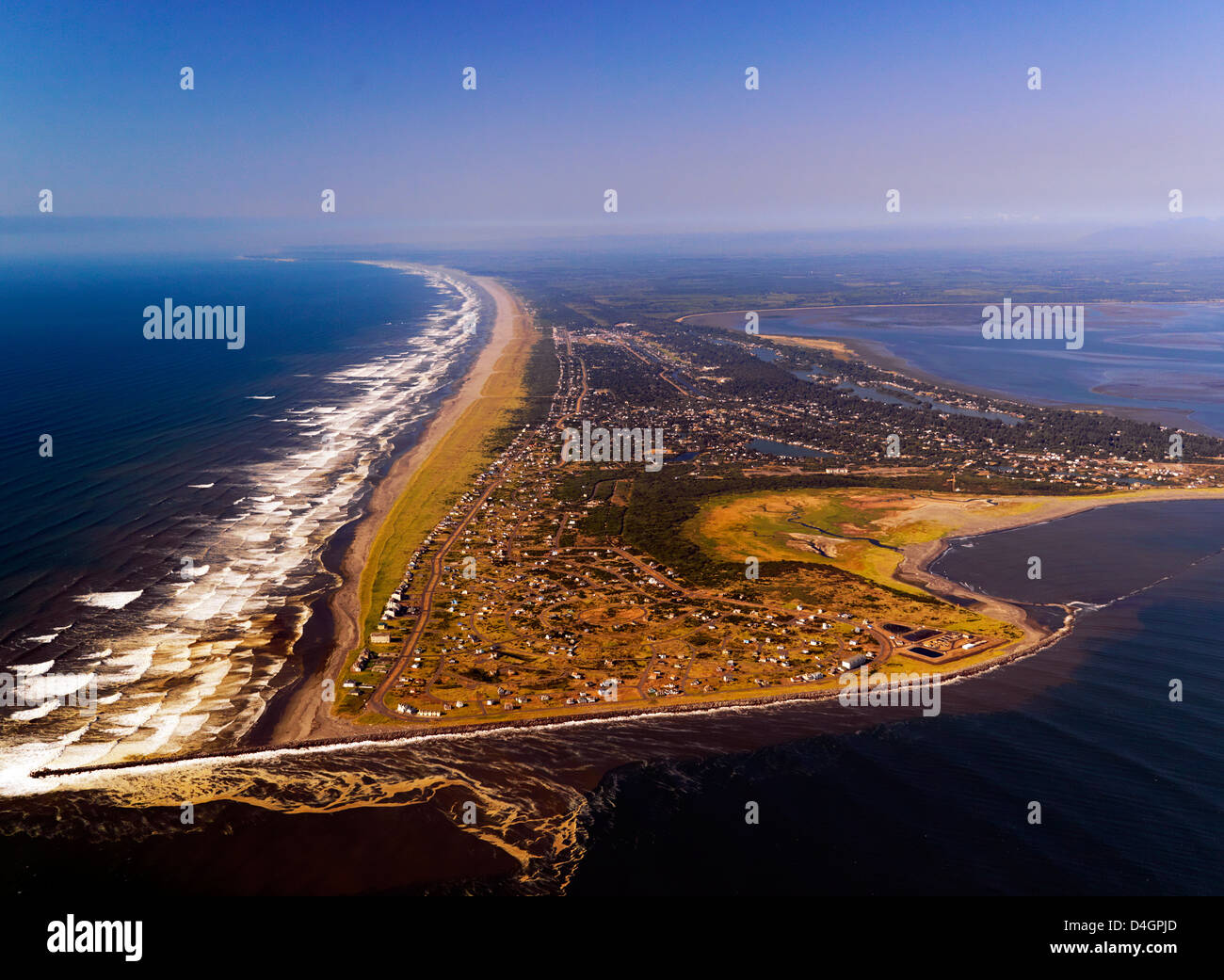 An aerial photo of the community of Ocean Shores on the Washington Coast - Stock Image